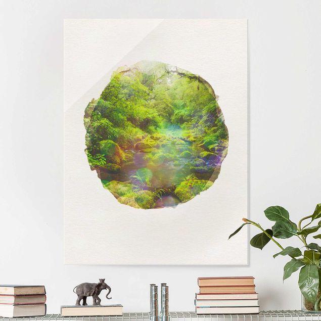 Glasbild - Wasserfarben - Bay of Plenty - Hochformat 4:3