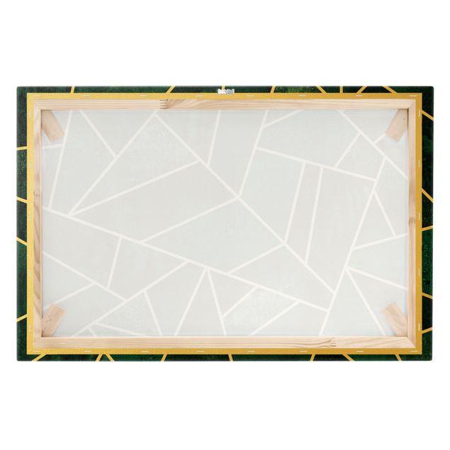 Leinwandbild Gold - Goldene Geometrie - Dunkles Türkis - Querformat 3:2