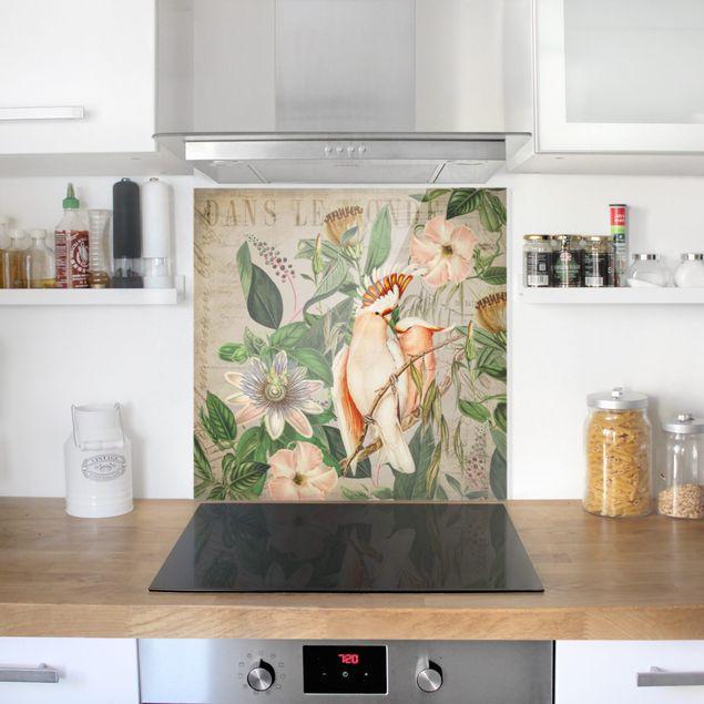 Glas Spritzschutz - Colonial Style Collage - Rosa Kakadu - Quadrat - 1:1