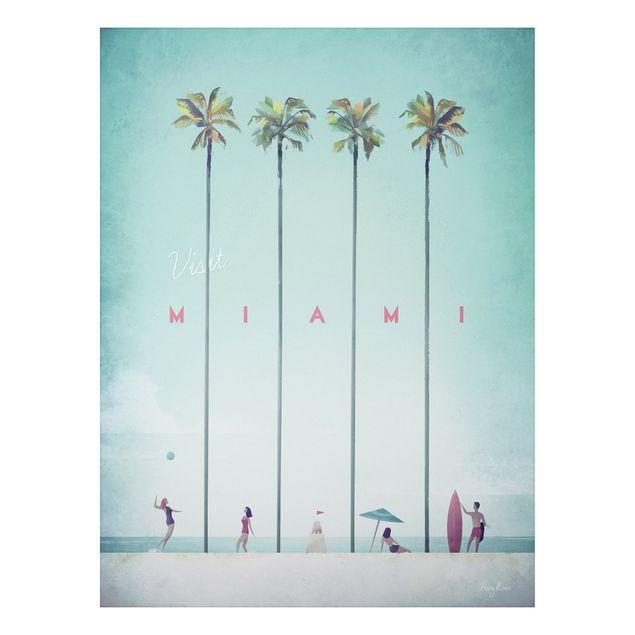 Aluminium Print - Reiseposter - Miami - Hochformat 4:3