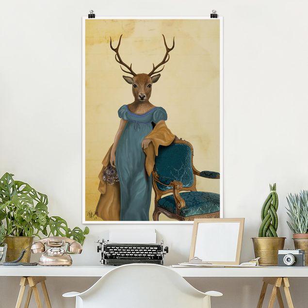 Poster - Tierportrait - Rotwilddame - Hochformat 3:2