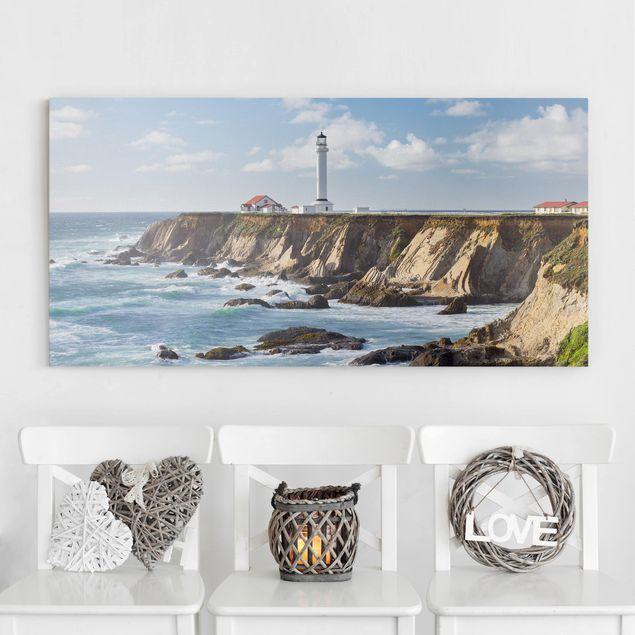 Leinwandbild - Point Arena Lighthouse Kalifornien - Querformat 1:2