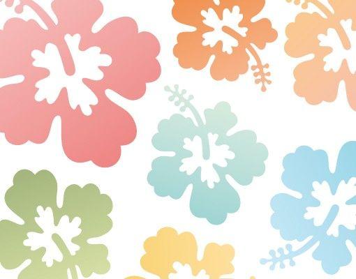 Wandtattoo Hibiskus No.547 Hibiskusblüten in Pastell