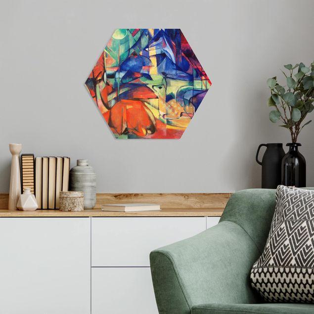 Hexagon Bild Forex - Franz Marc - Rehe im Walde