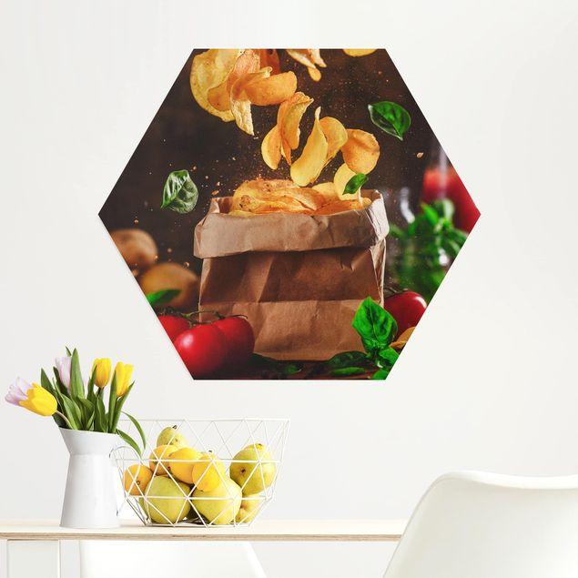Hexagon Bild Alu-Dibond - Tomate-Basilikum-Snack