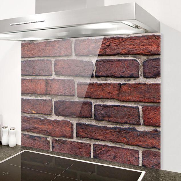 Glas Spritzschutz - Backsteinwand rot - Querformat - 4:3