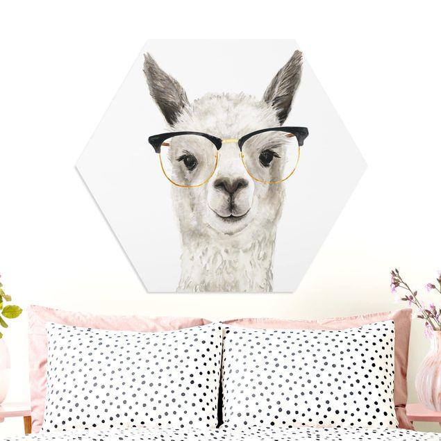 Hexagon Bild Forex - Hippes Lama mit Brille I