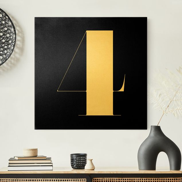 Leinwandbild Gold - Antiqua Zahl 4 - Quadrat 1:1