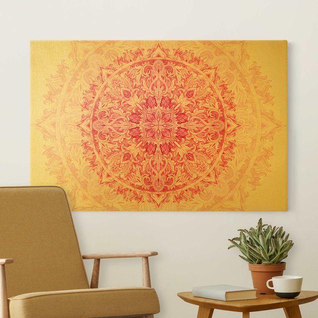 Leinwandbild Gold - Mandala Aquarell Ornament pink - Querformat 3:2