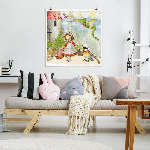 Poster - Erdbeerinchen Erdbeerfee - Theaterspiel - Quadrat 1:1