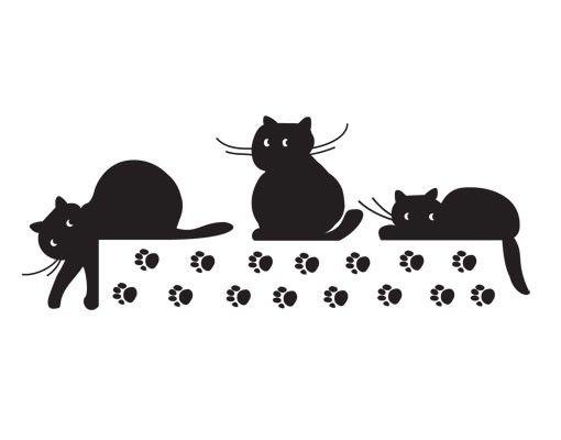 Wandtattoo Katze No.UL907 Katzen Trio
