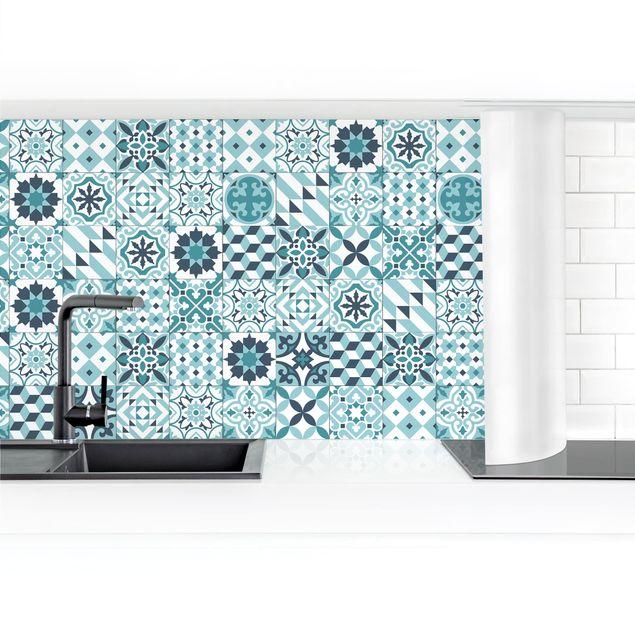 Küchenrückwand - Geometrischer Fliesenmix Türkis