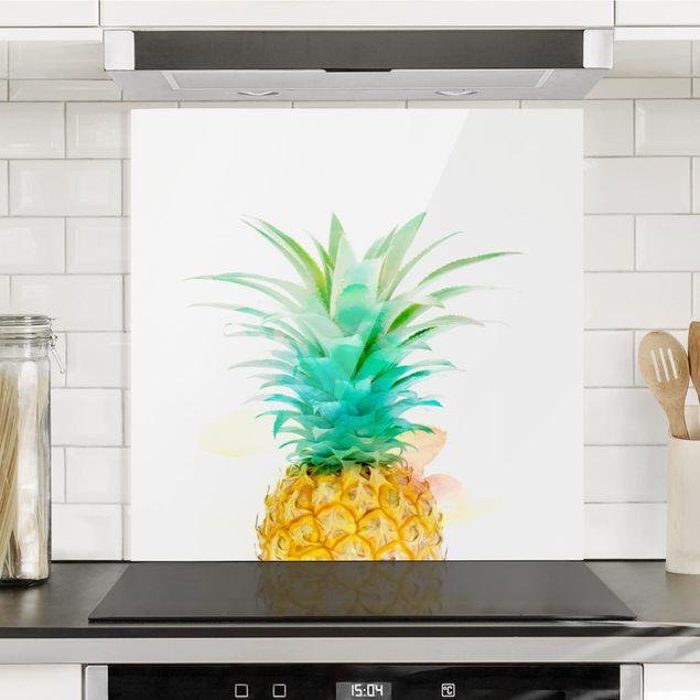 Glas Spritzschutz - Ananas Aquarell - Quadrat - 1:1