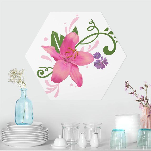 Hexagon Bild Forex - No.BP8 Lilientraum Pink