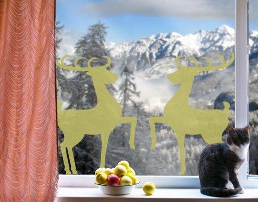 Fensterfolie - Fenstertattoo No.1222 Rentier Paar - Milchglasfolie