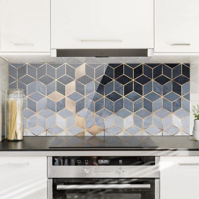 Spritzschutz Glas - Blau Weiß goldene Geometrie - Panorama