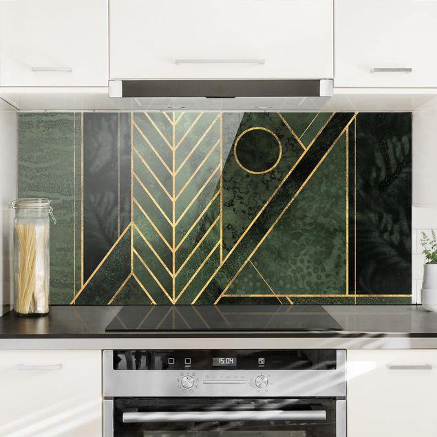 Spritzschutz Glas - Geometrische Formen Smaragd Gold - Querformat 1:2