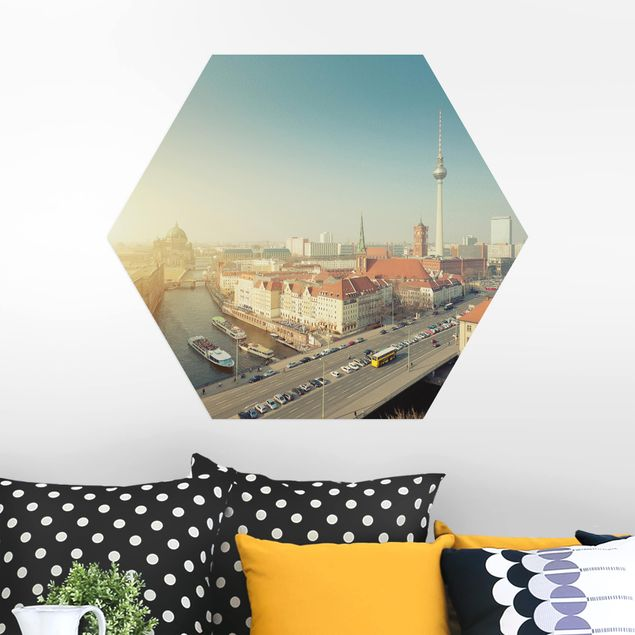 Hexagon Bild Alu-Dibond - Berlin am Morgen