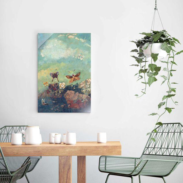 Glasbild - Odilon Redon - Schmetterlinge - Hochformat 3:2