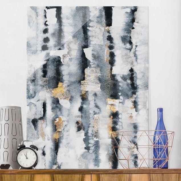 Glasbild - Abstraktes Aquarell mit Gold - Hochformat 4:3