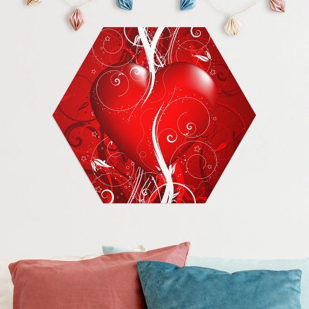 Hexagon Bild Alu-Dibond - Floral Heart
