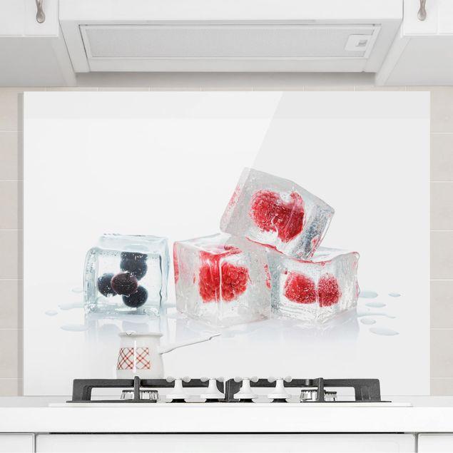 Glas Spritzschutz - Früchte im Eiswürfel - Querformat - 4:3