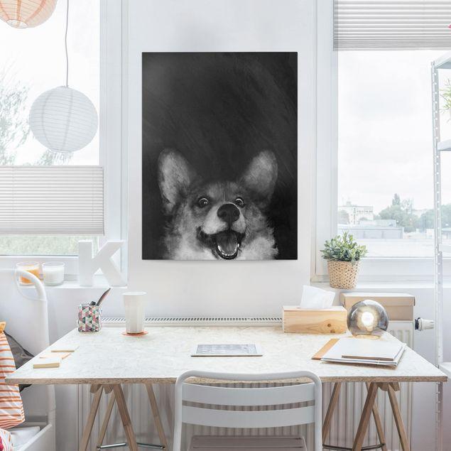 Leinwandbild - Illustration Hund Corgi Malerei Schwarz Weiß - Hochformat 4:3