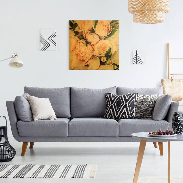 Leinwandbild Gold - Rosa Pfingstrosen mit Blättern - Quadrat 1:1
