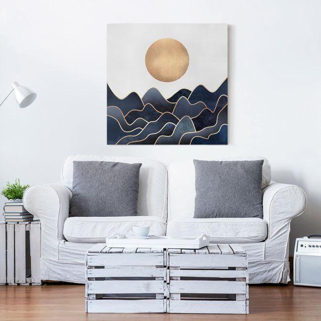 Leinwandbild - Goldene Sonne blaue Wellen - Quadrat 1:1