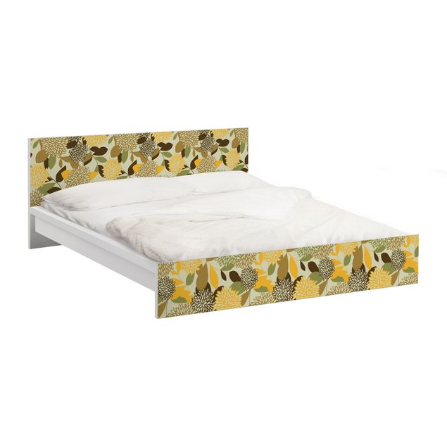 Möbelfolie für IKEA Malm Bett niedrig 180x200cm - Klebefolie Vintage Flowers