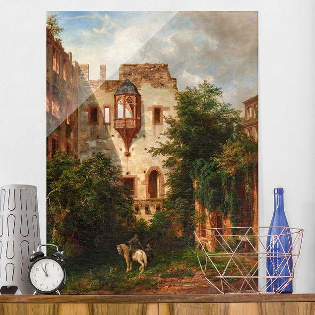 Glasbild - Carl Ludwig Fahrbach - Im Hof des Heidelberger Schlosses - Hochformat 4:3