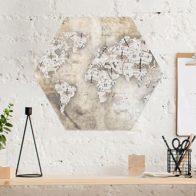 Hexagon Bild Forex - Shabby Uhren Weltkarte