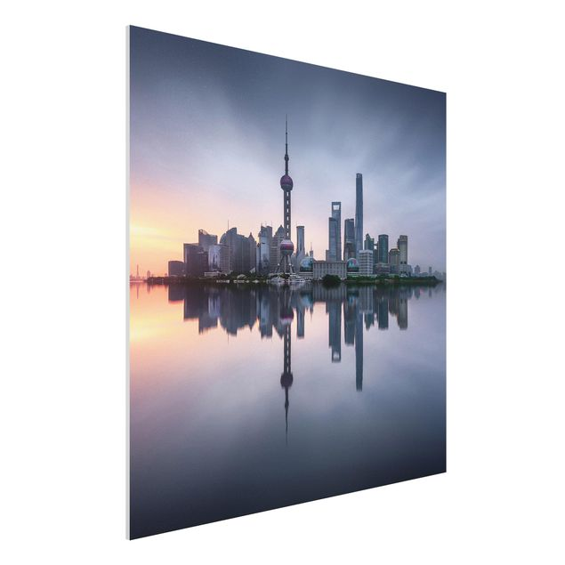 Forex Fine Art Print - Shanghai Skyline Morgenstimmung - Quadrat 1:1