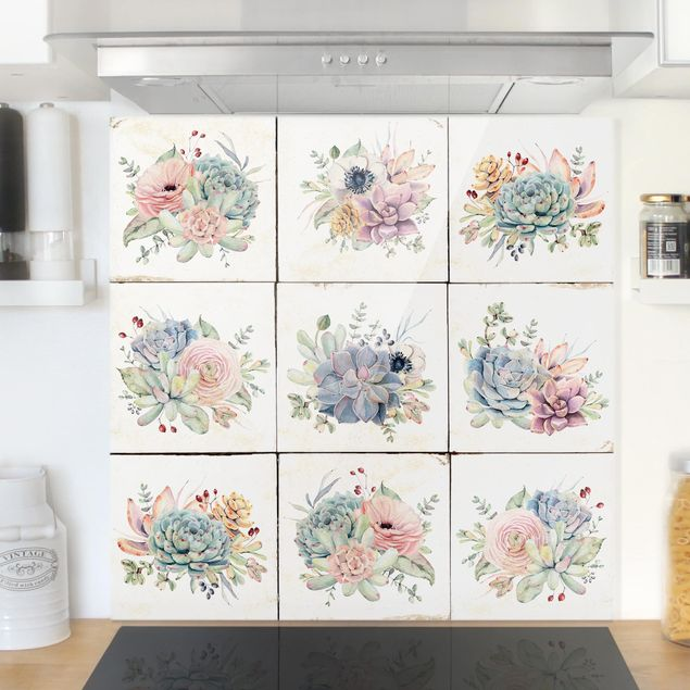 Glas Spritzschutz - Aquarell Blumen Landhaus - Quadrat - 1:1