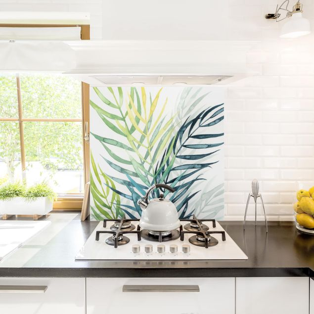 Glas Spritzschutz - Tropisches Blattwerk - Palme - Quadrat - 1:1