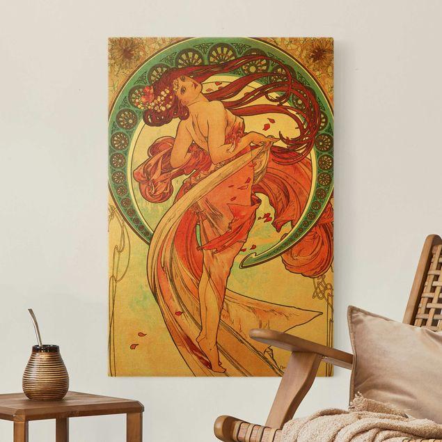Leinwandbild Gold - Alfons Mucha - Vier Künste - Der Tanz - Hochformat 2:3