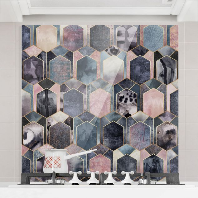 Glas Spritzschutz - Art Deco Marmor Gold - Quadrat - 1:1