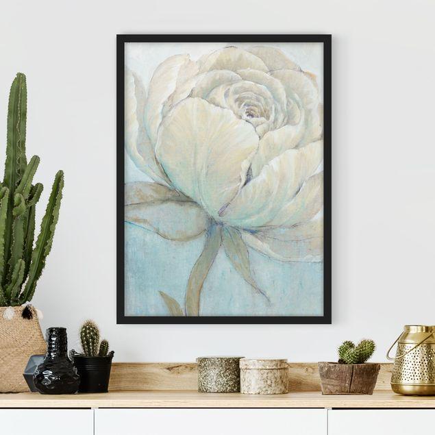 Bild mit Rahmen - Englische Rose Pastell - Hochformat 4:3