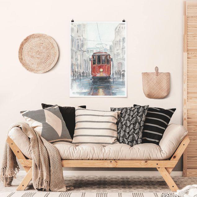 Poster - Straßenbahn-Studie I - Hochformat 3:4
