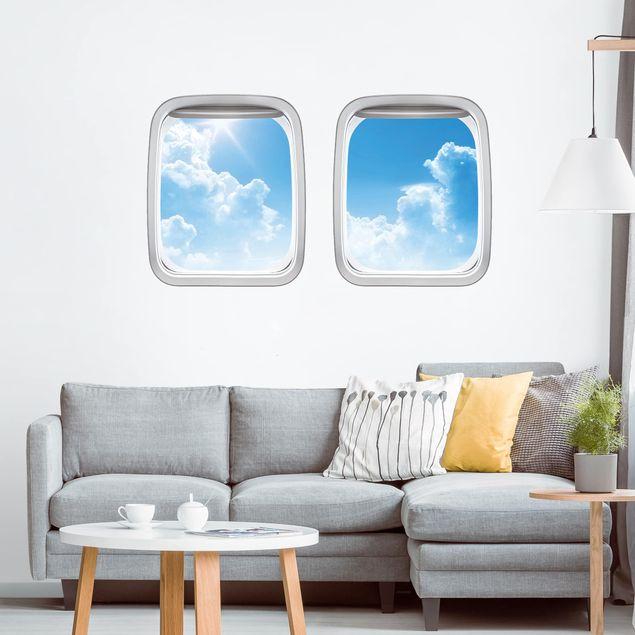 3D Wandtattoo - Doppelfenster Flugzeug Above Sea Level