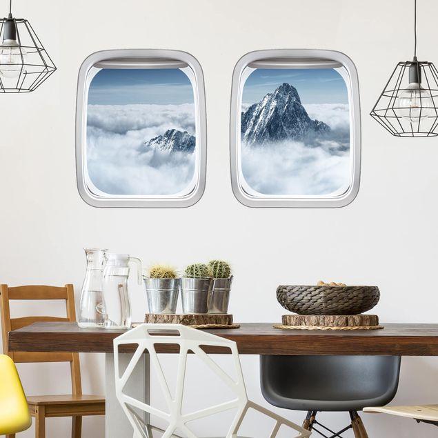 3D Wandtattoo - Doppelfenster Flugzeug Alpen über den Wolken