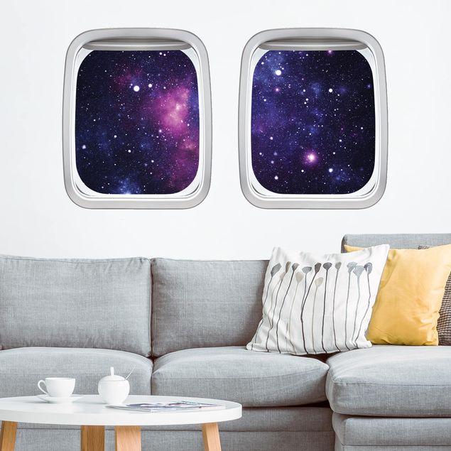 3D Wandtattoo - Doppelfenster Flugzeug Galaxie