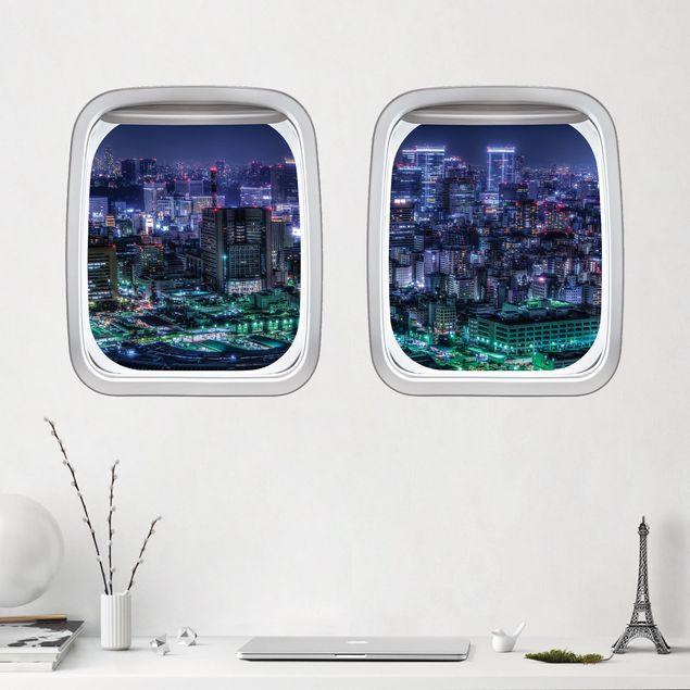 3D Wandtattoo - Doppelfenster Flugzeug Tokio bei Nacht