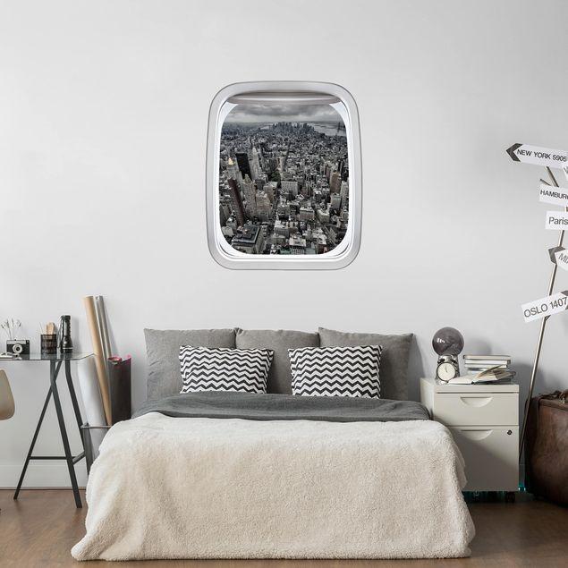3D Wandtattoo - Fenster Flugzeug Blick über Manhattan