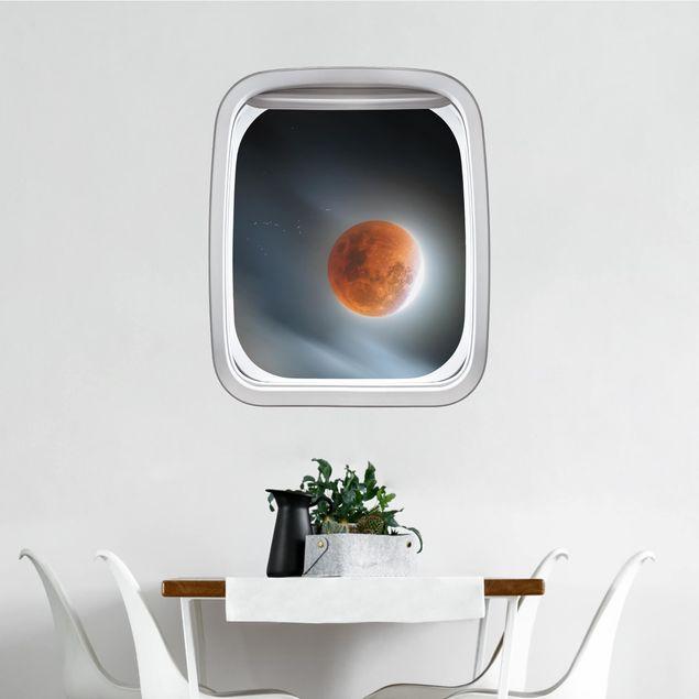 3D Wandtattoo - Fenster Flugzeug Blutroter Mond