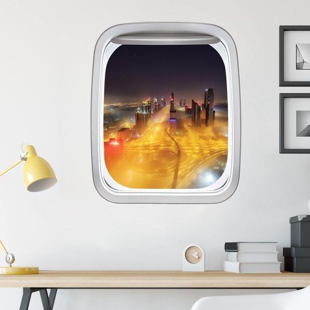 3D Wandtattoo - Fenster Flugzeug Dubai bei Nacht im Nebel