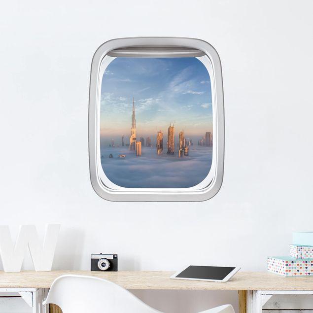 3D Wandtattoo - Fenster Flugzeug Dubai üben den Wolken