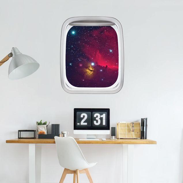 3D Wandtattoo - Fenster Flugzeug Farbenfrohe Galaxie