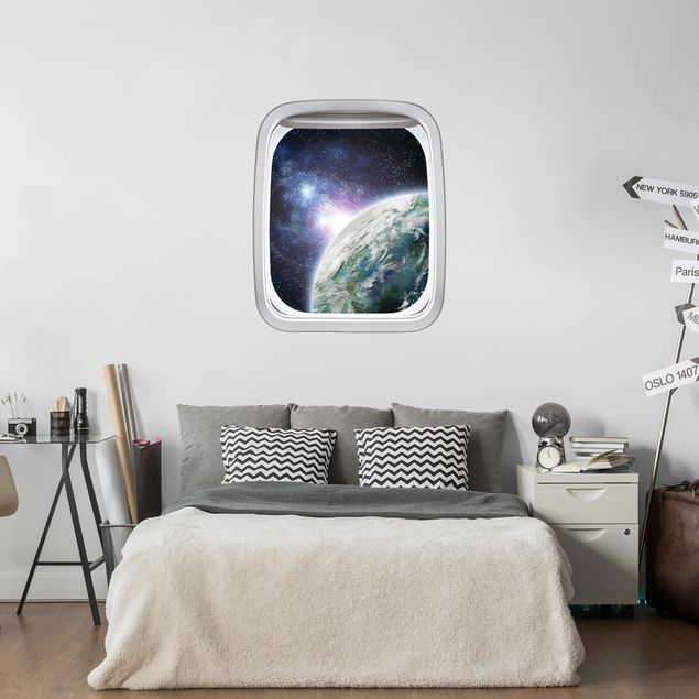 3D Wandtattoo - Fenster Flugzeug Galaxy Light