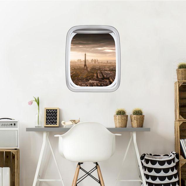 3D Wandtattoo - Fenster Flugzeug Großartiger Blick über Paris